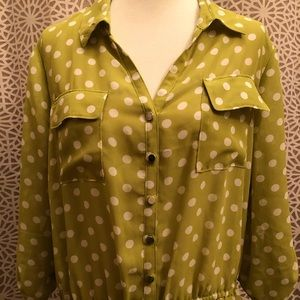 Lane Bryant Green & White Polkadot Long Sleeve Top